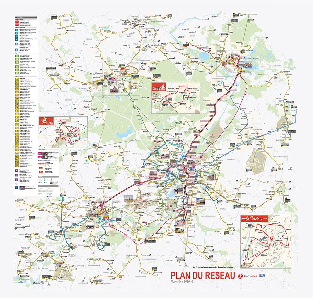 Plan du réseau Transvilles - novembre 2020