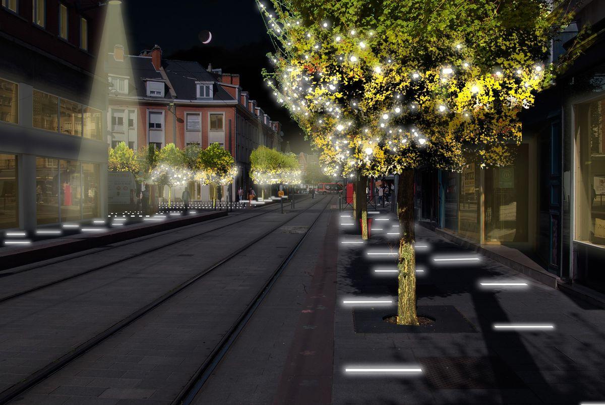 Vue des travaux d'éclairage à la station Hôtel de Ville.