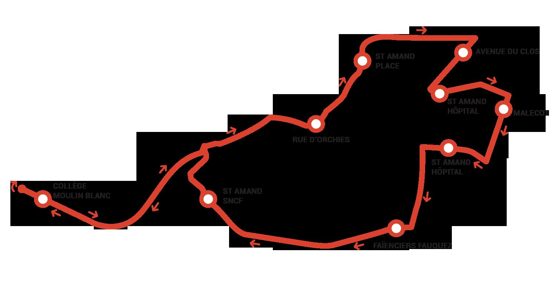 Plan du tracé de l'Amanditour à Saint-Amand-les-Eaux