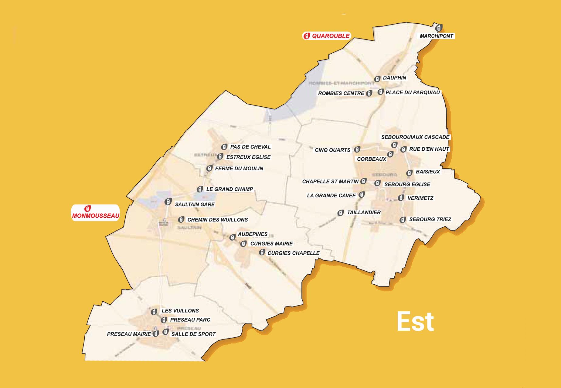 Carte du transport à la demande de l'Est