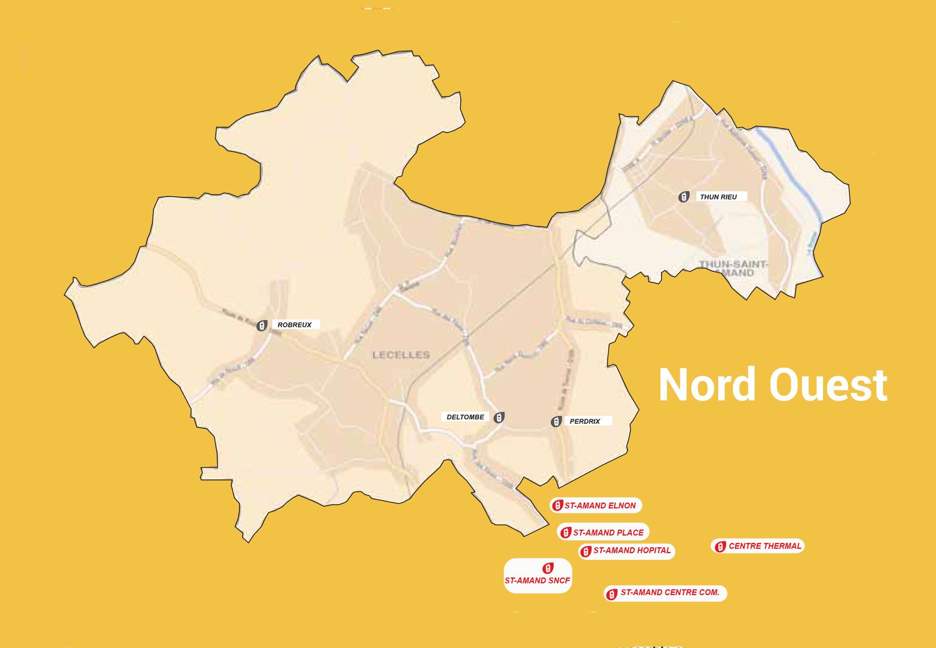 Carte du transport à la demande Nord Ouest