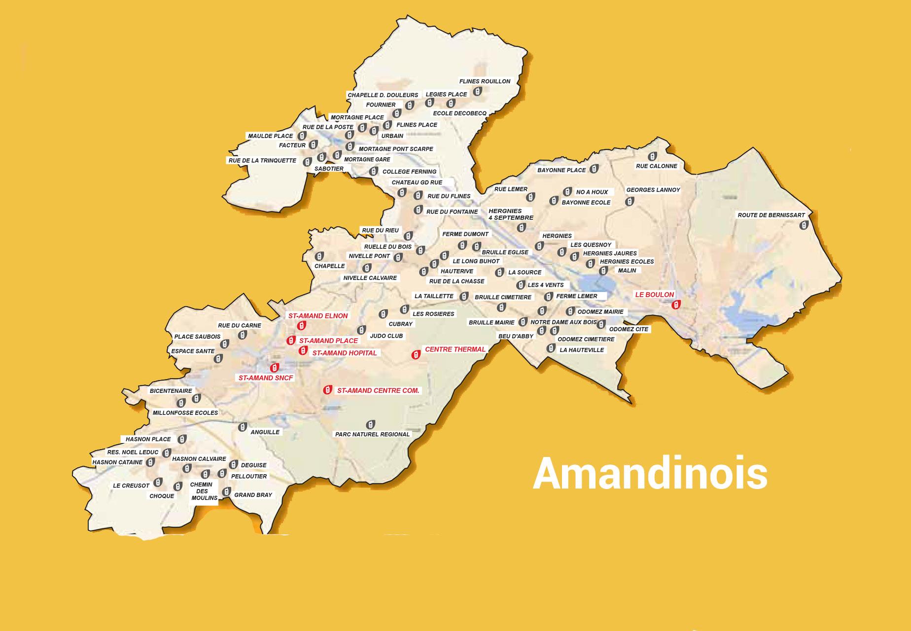 Carte du transport à la demande sur l'Amandinois