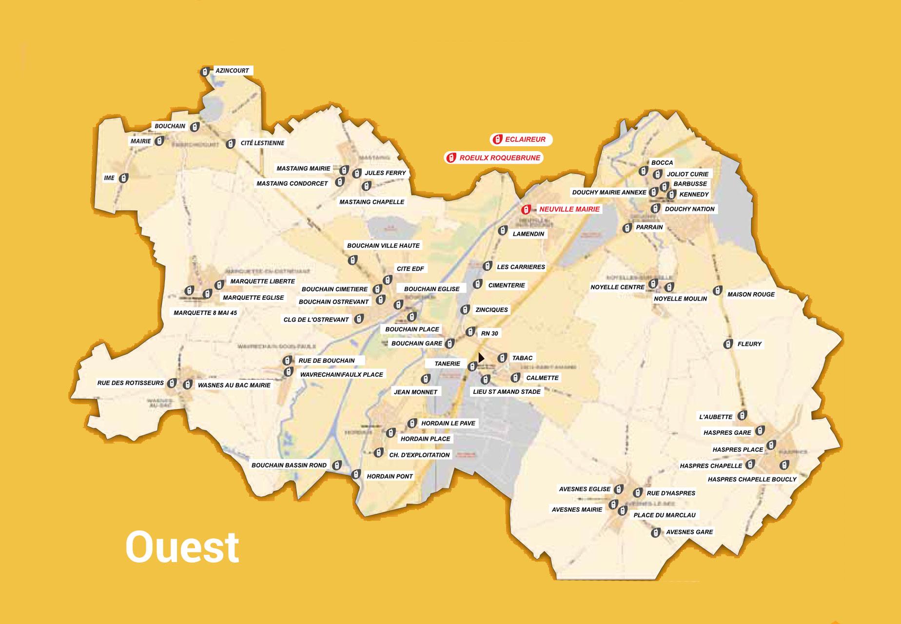 Carte du transport à la demande Ouest