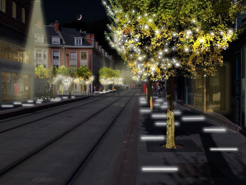 Travaux éclairage de sol rue Vieille Poissonnerie
